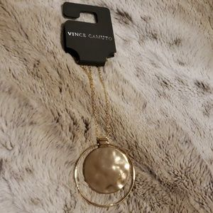 NWT - Vince Camuto Gold Disc Pendant Necklace
